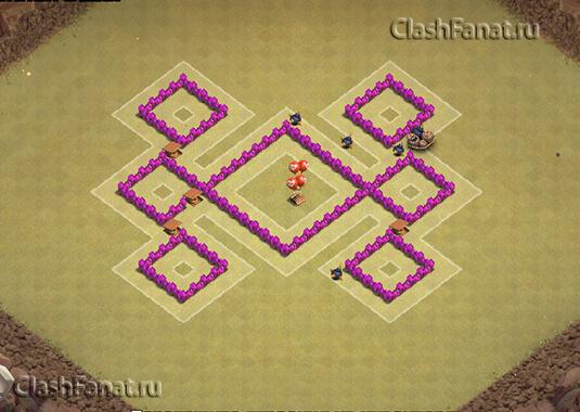 Расстановка базы ТХ 4 clash of clans