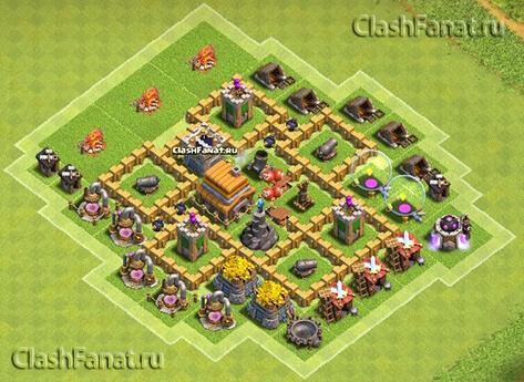 Расстановка ТХ 5 clash of clans