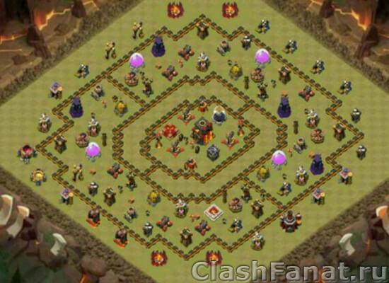 Расстановка ТХ 10 Clash of Clans